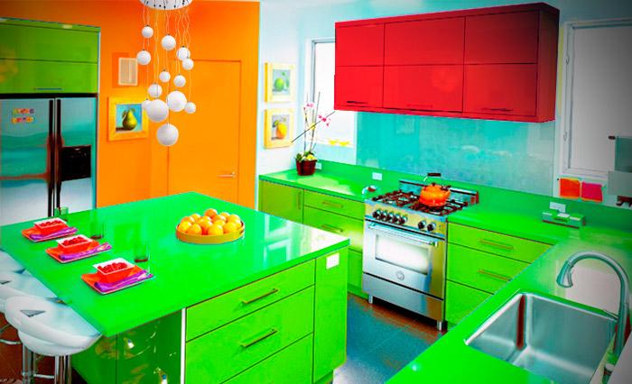 Яркая красочная кухня