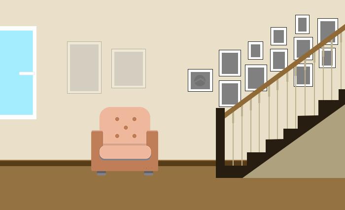 Развешивание картин вдоль лестницы