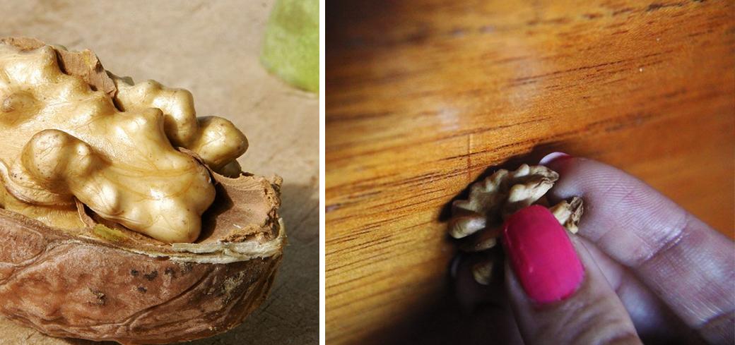 Удаление царапин с помощью грецкого ореха