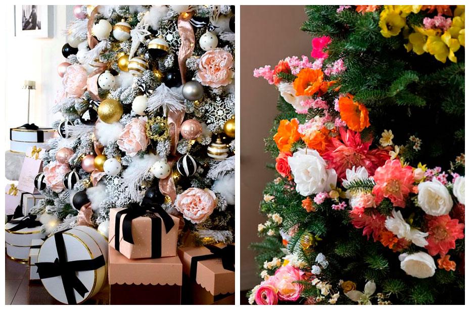 Новогодняя ёлка с цветами