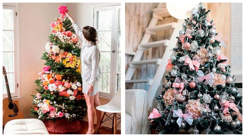 Рождественская ёлка с цветами