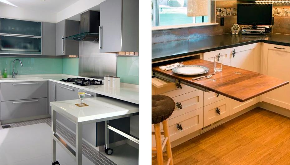 Кухонный гарнитур с выдвижным столом