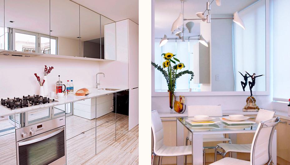 экстравагантные зеркала на кухне